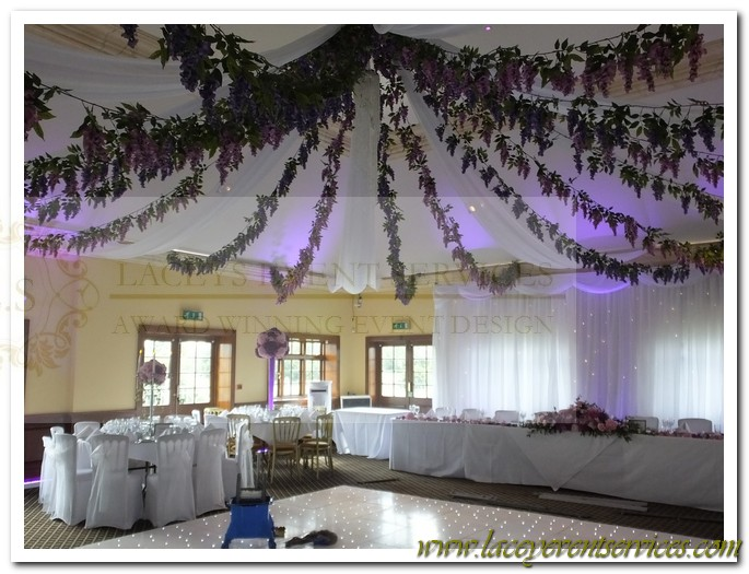 Wedding ceiling decorations ceiling canopies pom poms one of my personal favorites in way of wedding ceiling decoration and canopies is our flower garland canopy this canopy really gives the wow factor with junglespirit Image collections