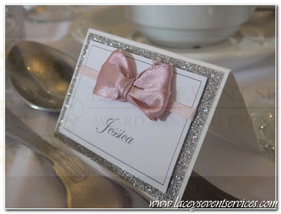 Glitter wedding place cards