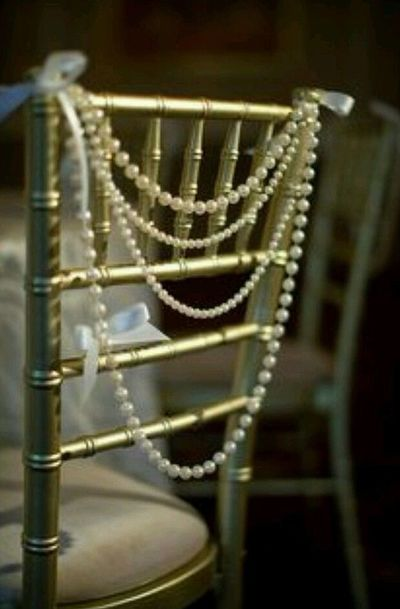 wedding chair pearls decorations